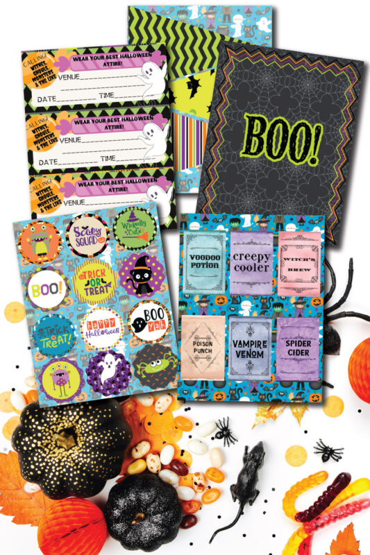 stack of printable Halloween decorations