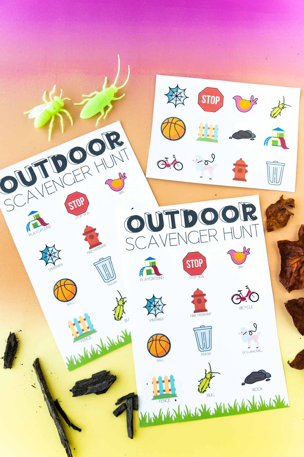 an outdoor scavenger hunt with a set of stickers