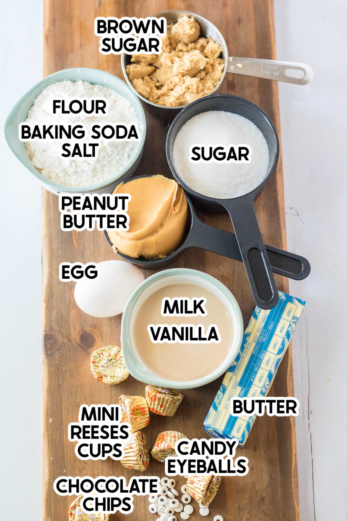 ingredients for peanut butter cookies with labels
