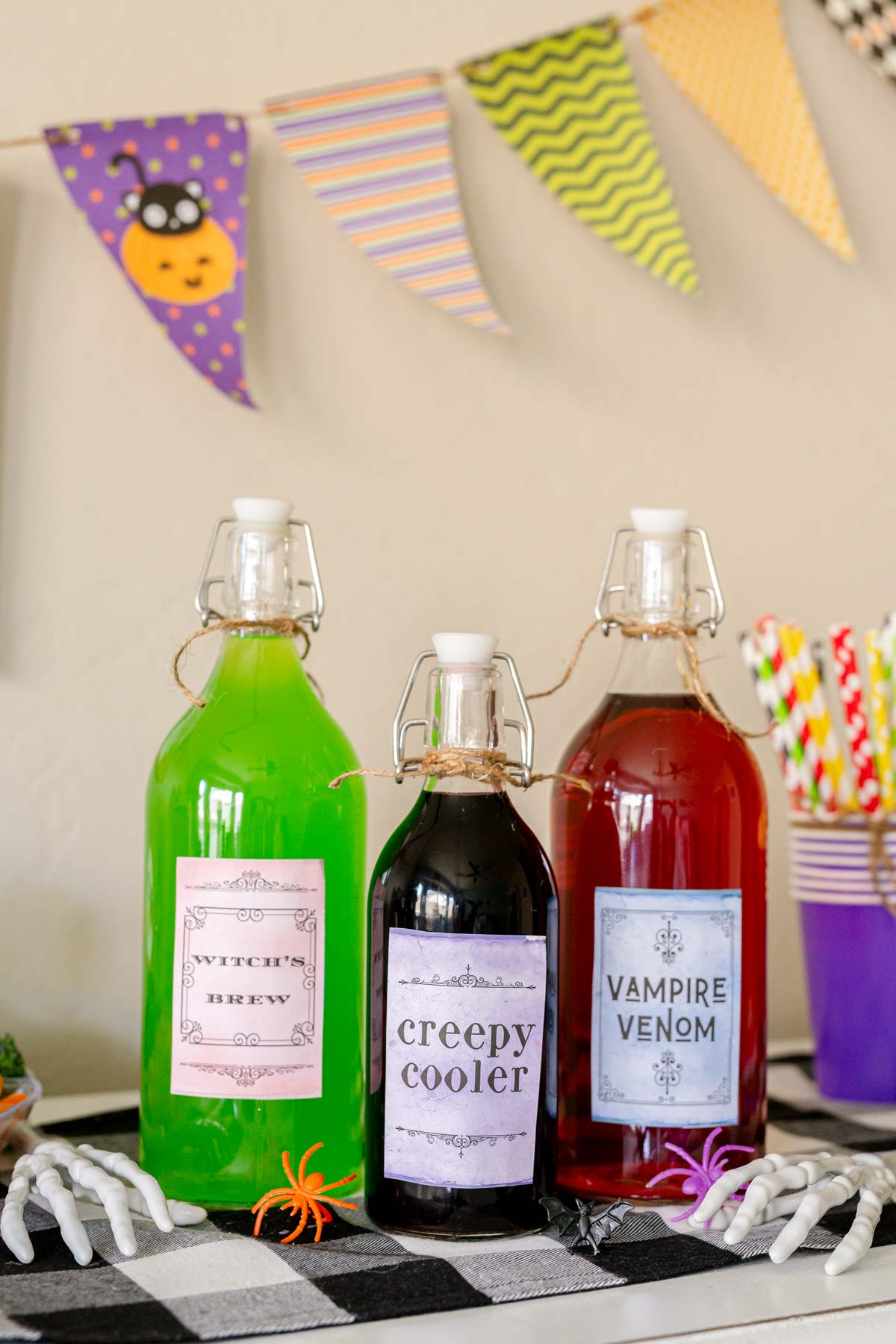 Halloween bottles with labels