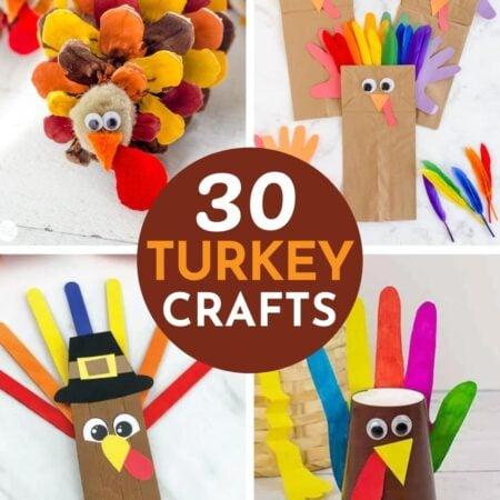 collage of turkey crafts