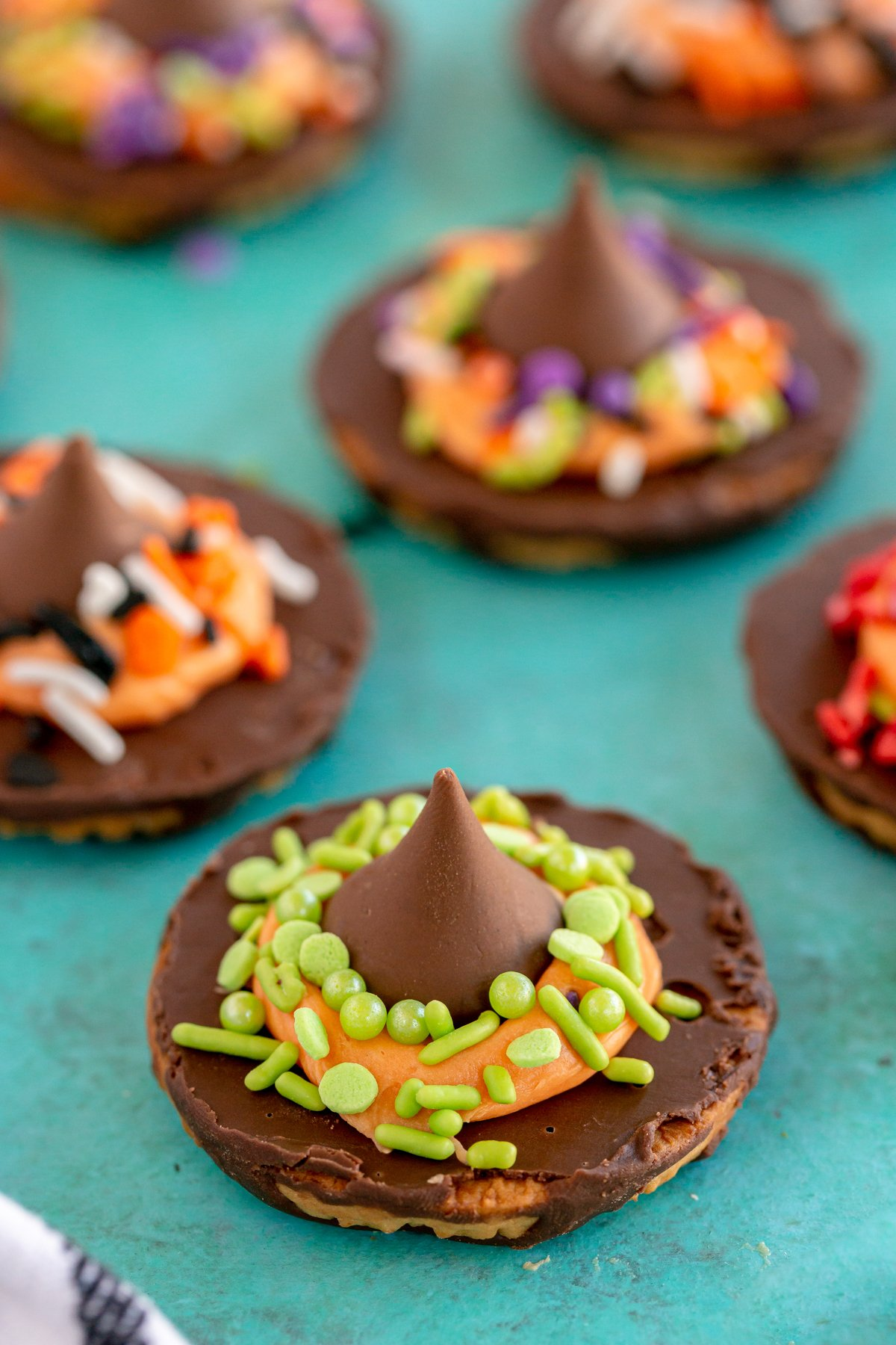 Halloween witch cookies with sprinkles