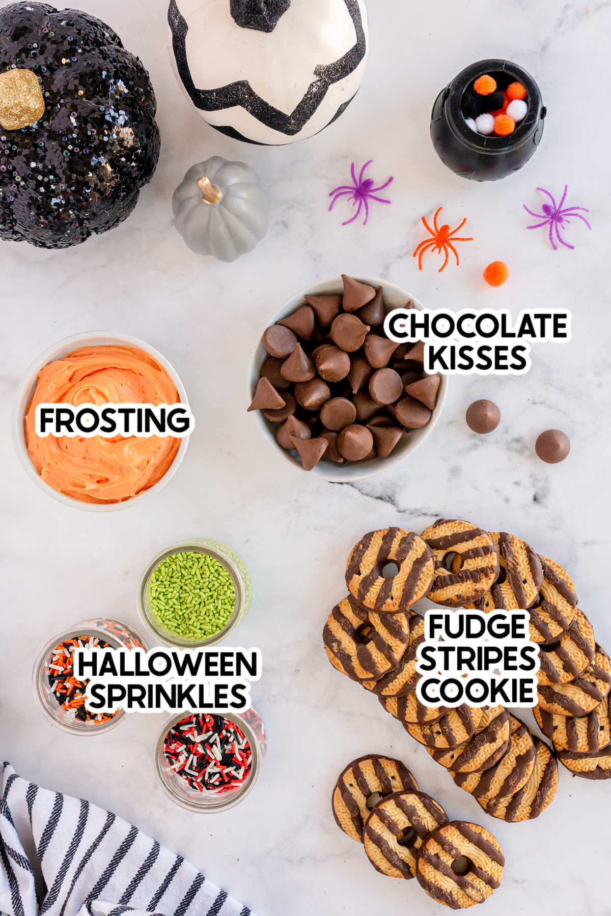 ingredients for witch hat cookies with labels