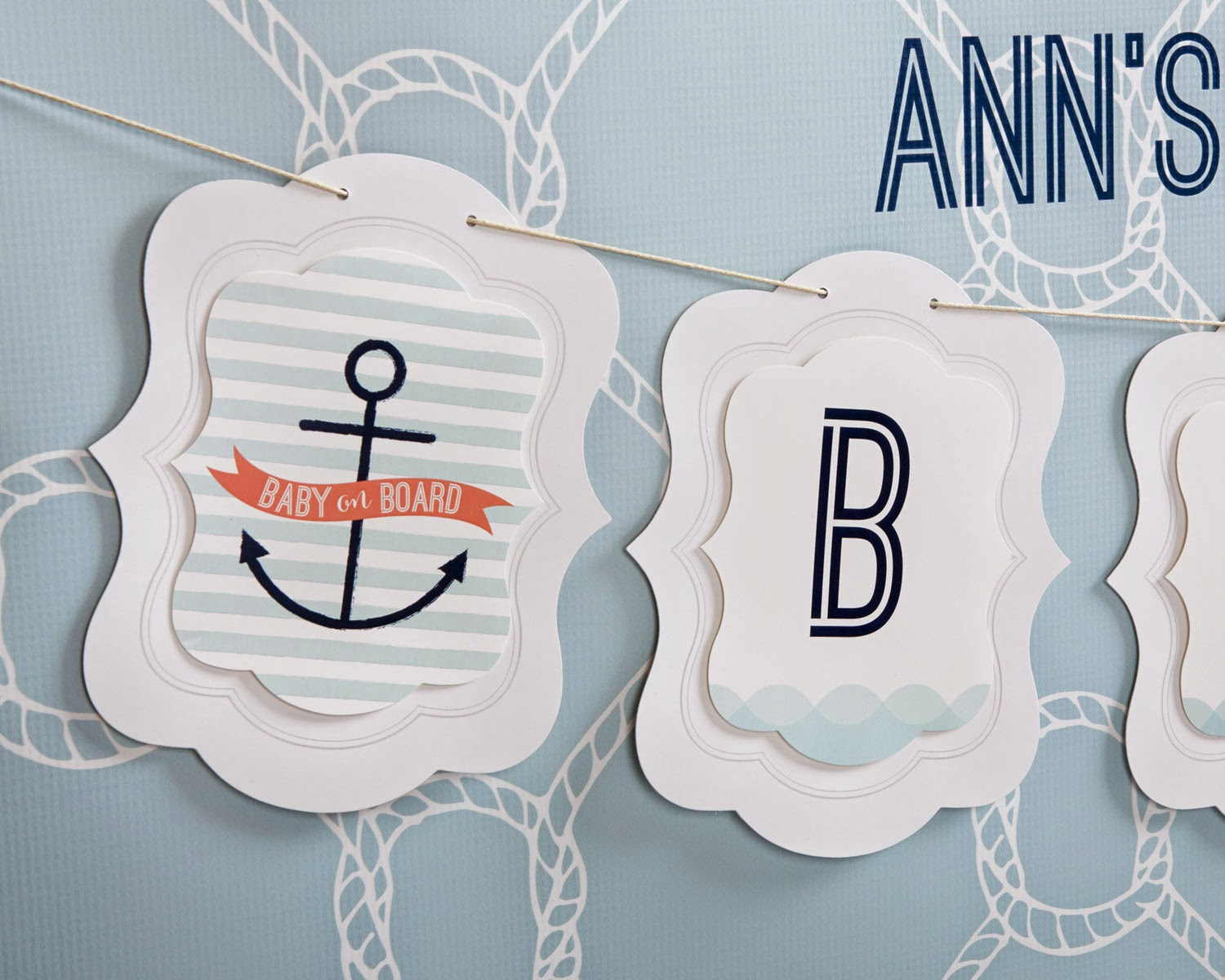 Baby on board nautical baby shower from kateaspen.com