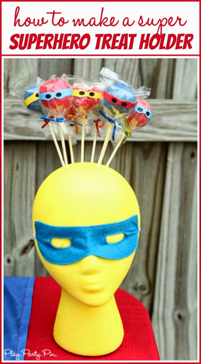How to turn a foam head into an super superhero cake pop holder from playpartyplan.com