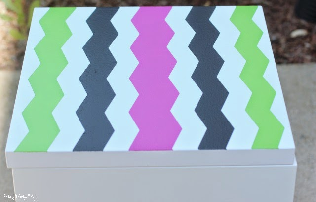 DIY easy painted Chevron side table tutorial from playpartyplan.com using #ShapeTape #ad