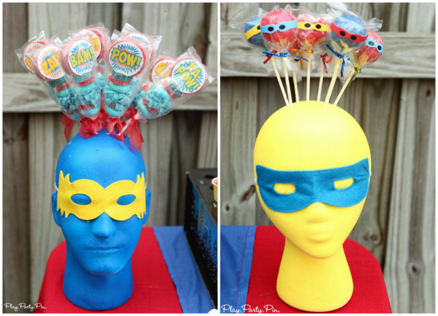 How to turn a foam head into an super superhero cake pop holder from playpartypin.com